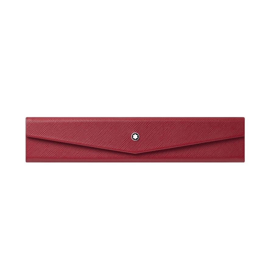 Montblanc červené kožené pouzdro na pera