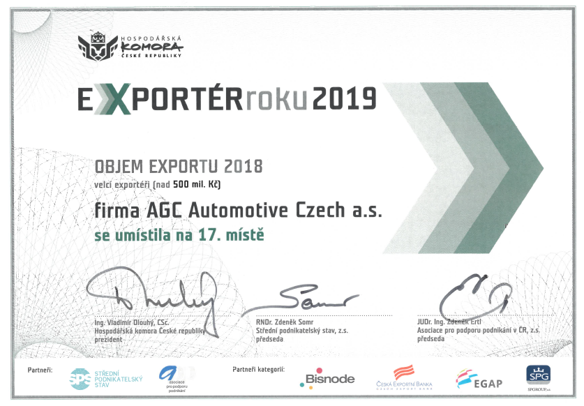 AGC Automotive Czech patří mezi 20 největších vývozců v zemi