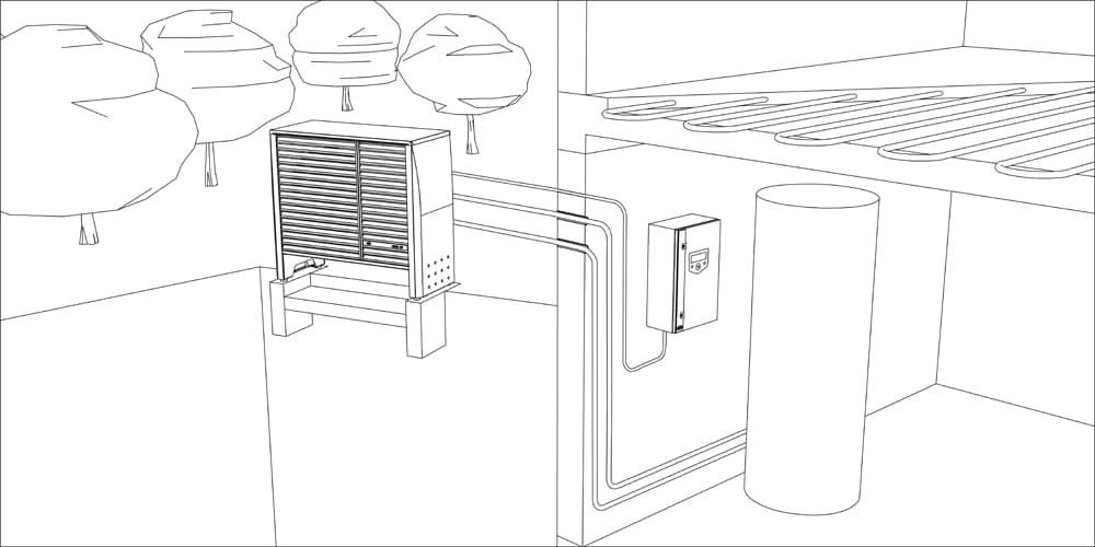 Schéma zapojení tepelného čerpadla vzduch voda