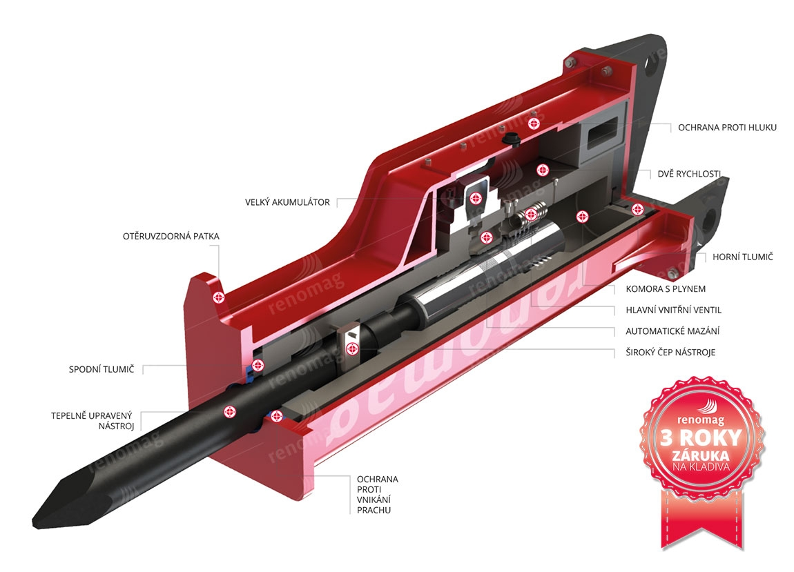 RENOMAG XR500 - hydraulické bourací kladivo