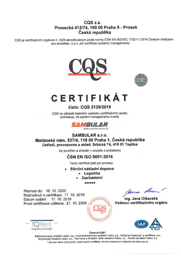 ISO 9001:2016 cs